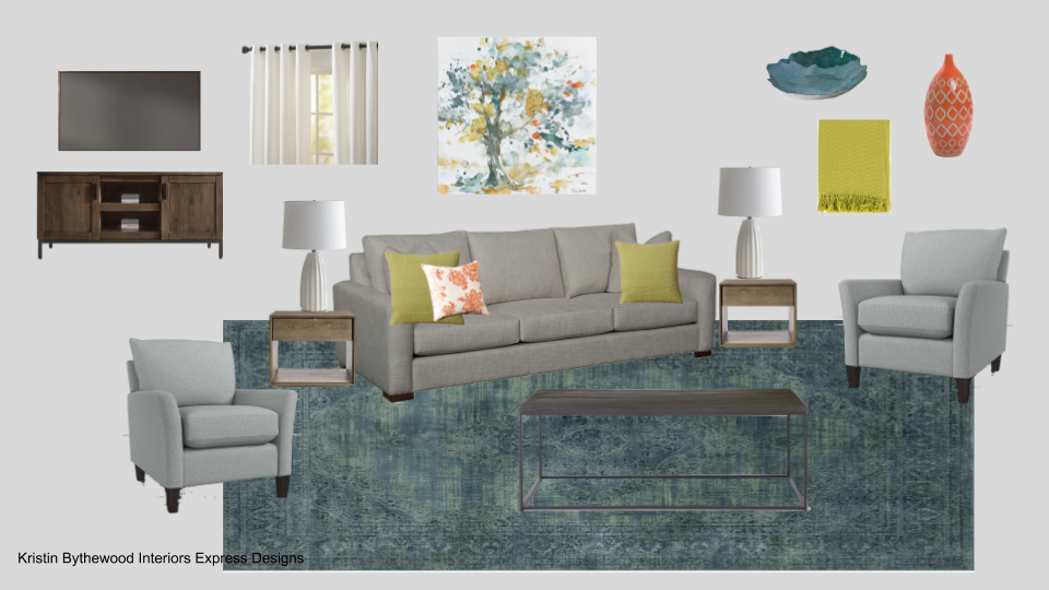 transitional teal living room (3)